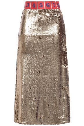 STELLA JEAN Sequined jersey midi skirt