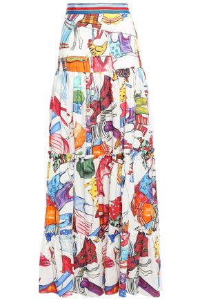 STELLA JEAN Tiered ramie and cotton-blend maxi skirt