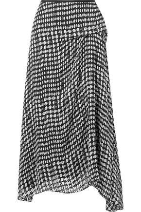 THEORY Draped printed fil coupé chiffon midi skirt