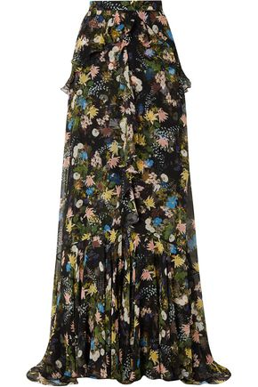 ERDEM Alison ruffled floral-print silk-voile maxi skirt