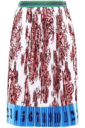 STELLA JEAN Satin-trimmed pleated crepe de chine skirt