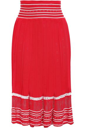 STELLA JEAN Pointelle-knit midi skirt