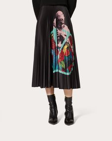 Undercover Print Pleated Jersey Skirt