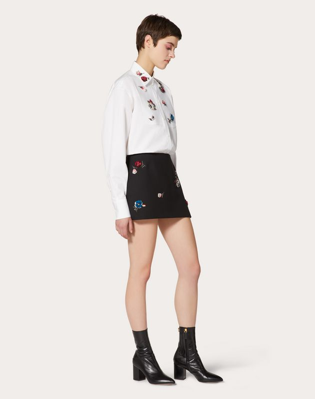 Embroidered Crêpe Couture Mini Skirt