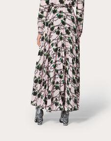 Undercover Print Pleated Crêpe de Chine Skirt