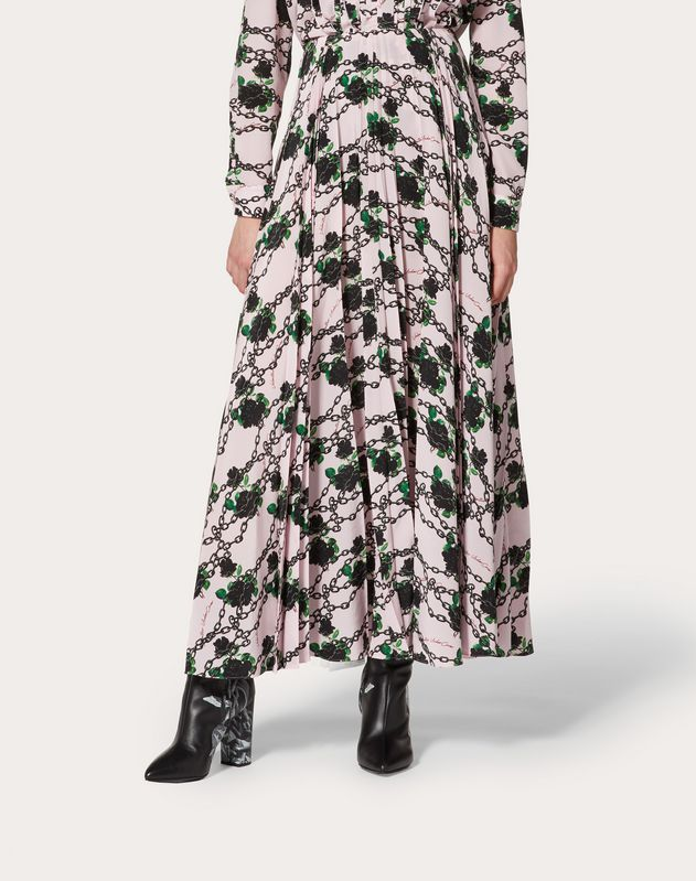 Undercover Print Pleated Crêpe de Chine Skirt