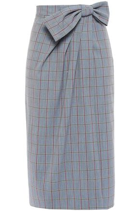 STELLA JEAN Wrap-effect checked woven skirt