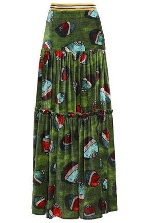 STELLA JEAN Metallic-trimmed velvet maxi skirt