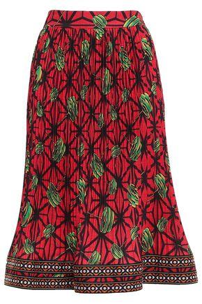 STELLA JEAN Printed plissé crepe de chine skirt