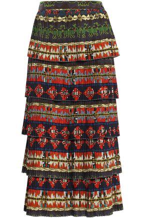 f16a8e594 Tiered pleated crepe de chine midi skirt | STELLA JEAN | Sale up to ...