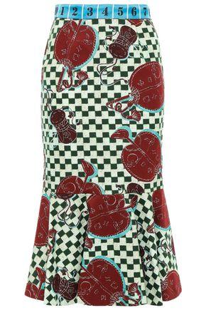 STELLA JEAN Fluted satin jacquard-trimmed printed cotton-twill midi skirt