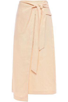 TIBI Linen midi wrap skirt