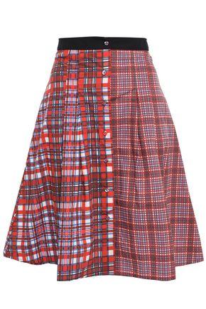 ÊTRE CÉCILE Pleated checked cotton-poplin skirt