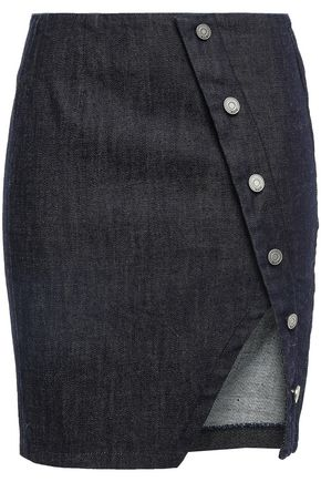 RTA Jolene asymmetric button-detailed denim mini skirt
