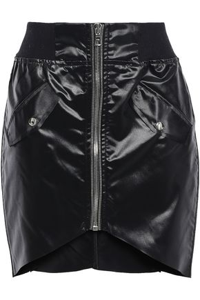 RTA Asymmetric glossed-shell mini skirt