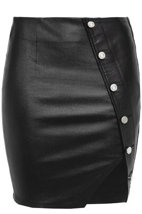 RTA Asymmetric button-detailed leather mini skirt