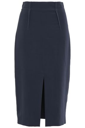 CUSHNIE Split-front crepe midi pencil skirt