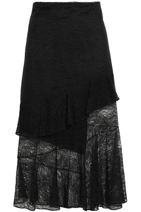 CUSHNIE Asymmetric layered lace midi skirt