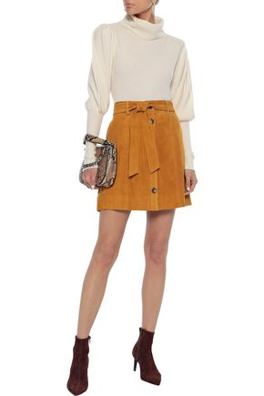 Joie Skirts JOIE WOMAN NEIDA BELTED SUEDE MINI SKIRT CAMEL