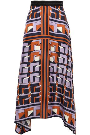 AMANDA WAKELEY Asymmetric silk-twill midi skirt