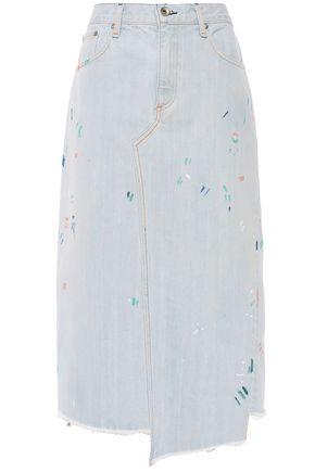 RAG & BONE Asymmetric frayed denim midi skirt
