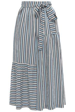 CHINTI & PARKER Belted striped twill midi skirt