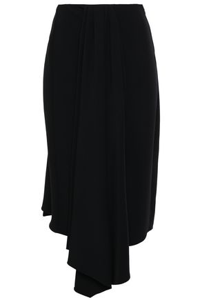 TOME Asymmetric draped crepe midi skirt