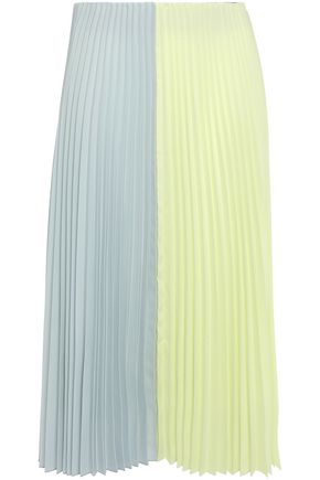 TOME Pleated two-tone crepe midi skirt
