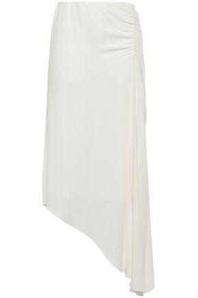 LES HÉROÏNES by VANESSA COCCHIARO Asymmetric ruched crepe midi skirt