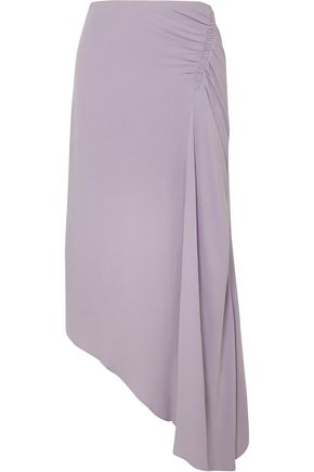 LES HÉROÏNES by VANESSA COCCHIARO The J.K asymmetric ruched washed-crepe midi skirt
