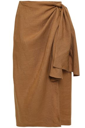 TOME Wrap-effect cotton and linen-blend skirt