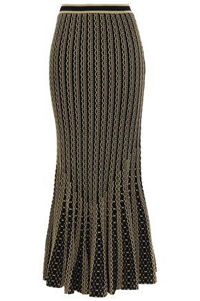 ROBERTO CAVALLI Fluted metallic stretch-knit maxi skirt