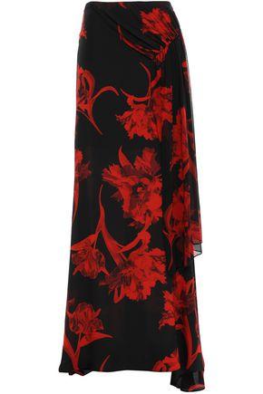 ROBERTO CAVALLI Draped floral-print silk-georgette maxi skirt