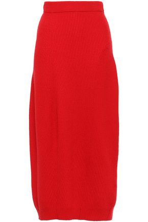 JIL SANDER Ribbed wool and cashmere-blend midi skirt