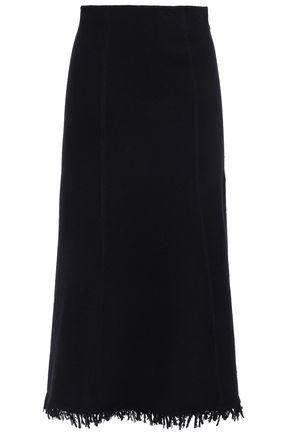 JIL SANDER Fringed wool-blend midi skirt
