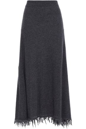 JIL SANDER Frayed wool and cashmere-blend midi skirt