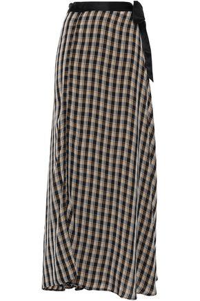 FORTE_FORTE Satin-trimmed crepe maxi wrap skirt