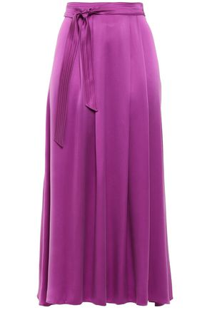 FORTE_FORTE Belted pleated washed-silk midi skirt