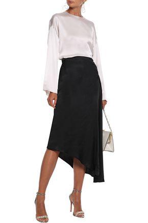 LES HÉROÏNES by VANESSA COCCHIARO The J.K asymmetric ruched satin midi skirt