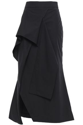 CHALAYAN Asymmetric draped cotton-poplin midi skirt