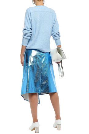 TIBI Asymmetric metallic crinkled-vinyl midi skirt