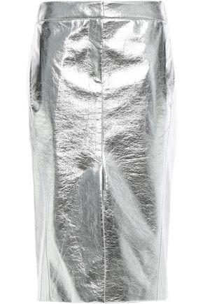 TIBI Metallic faux crinkled-leather midi skirt