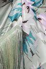 ANNA SUI Gathered fringe-trimmed silk-satin midi skirt