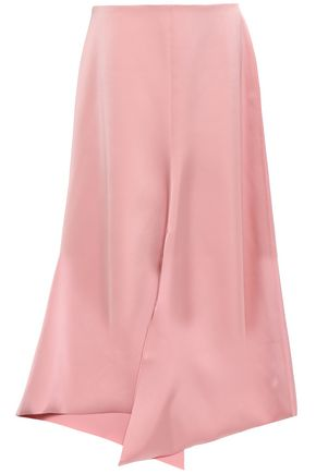 TIBI Asymmetric satin-crepe skirt