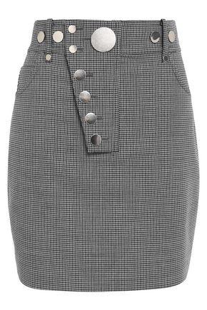 ALEXANDER WANG Asymmetric button-embellished stretch-crepe mini skirt