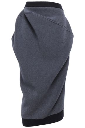 JIL SANDER Draped stretch-knit midi skirt