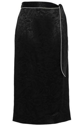 ALEXACHUNG Belted satin-jacquard midi skirt