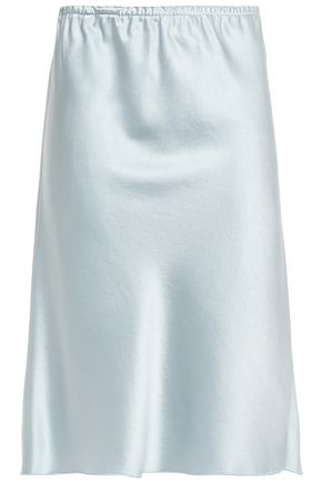 ALEXACHUNG Gathered satin-crepe skirt