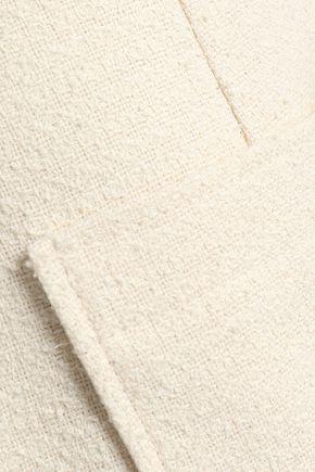 ALEXACHUNG Flared frayed bouclé-tweed skirt