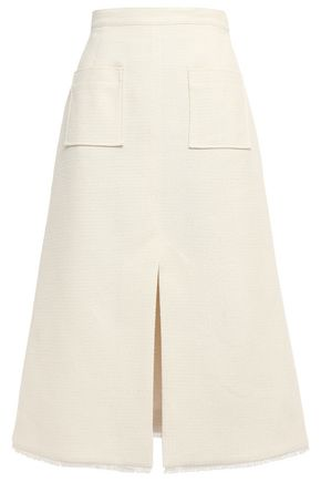 ALEXACHUNG Flared frayed bouclé-tweed skirt